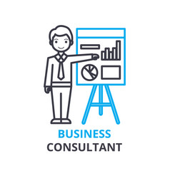 business consultant concept outline icon linear vector image
