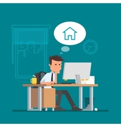Business man working and dreaming about home vector