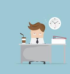 Businessman falling asleep at desk in office vector