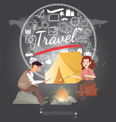 camping in night with travel icons on world map vector image