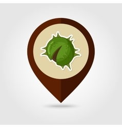 Chestnut mapping pin icon harvest thanksgiving vector