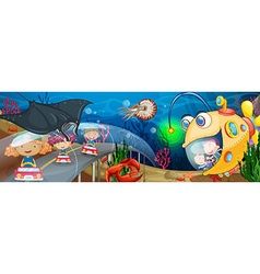 Children riding in tunnel underwater vector image
