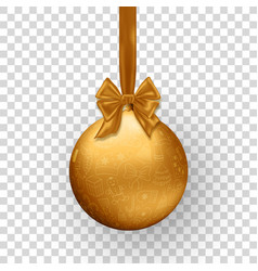 christmas golden ball with ribbon and bow vector image