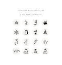 christmas instagram story highlight icons set vector image