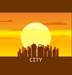 city megapolis sunset cityscape evening skyline vector image