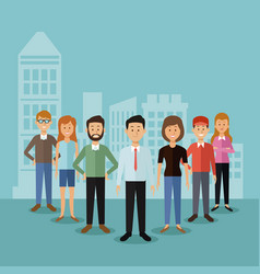 color background with full body group people vector image