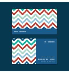 Colorful ikat chevron horizontal stripe frame vector