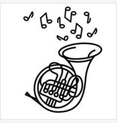 concept of french horn music vector image