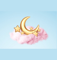 Crescent moon golden stars and pink clouds 3d vector