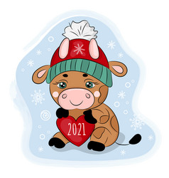 cute cartoon bull with heart 2021 in a winter hat vector image