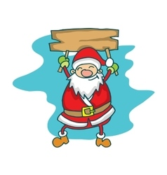 Cute Santa Claus with board cartoon vector image