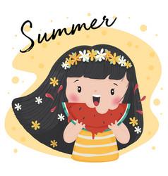 Cute tan girl eat watermelon in summer vector