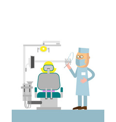 dentists office cartoon with with vector image