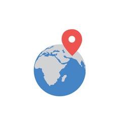 earth globe blue sign with route red pin mark vector image