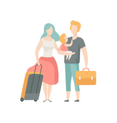 family travelling father mother and baby vector image