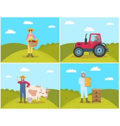 Farmer tractor on field set vector