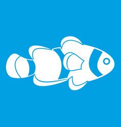 Fish clown icon white vector