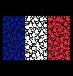 French flag collage of fire flame items vector
