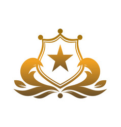 gold shield king star logo icon vector image