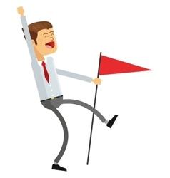 Goofy businessman holding flag icon vector