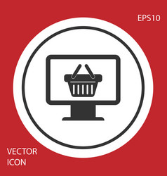 Grey computer monitor with shopping basket icon vector