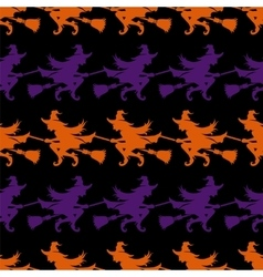 Halloween seamless pattern with witch vector image