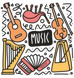 Hand drawn music instrumen doodle set vector