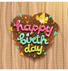 Happy Birthday card with bird and lettering vector