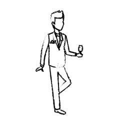 happy groom holding a glass of champagne saying a vector image