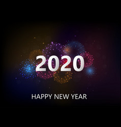 happy new year with colorful fireworks vector image