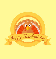 Happy thanksgiving day card with cartoon of turkey vector