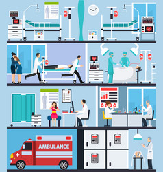Hospital interior flat compositions vector