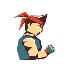 karate man avatar character vector image