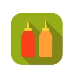 ketchup and mustard sauces flat of vector image