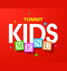 kids menu bright cover template vector image