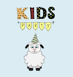 kids party lettering party with baby lamb vector image