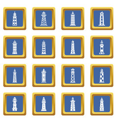 lighthouse icons set blue square vector image