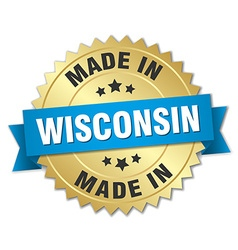Made in wisconsin gold badge with blue ribbon vector