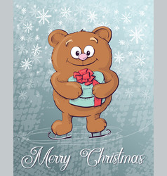 merry christmas polar bear on ice skates vector image