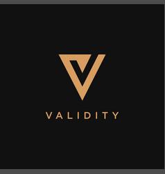 Minimalist letter v check mark logo icon template vector