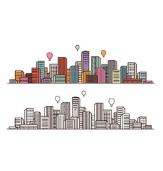 Modern city view cityscape urban landscape vector