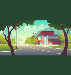 modern house in metropolis suburb cartoon vector image