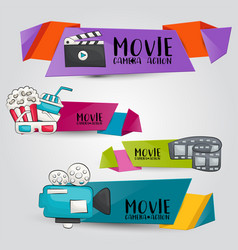 Movie cinema theme horizontal banner template set vector
