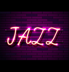 neon sign word jazz on dark background vector image