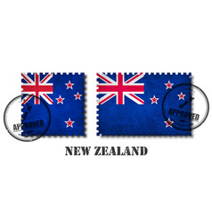 new zealand flag pattern postage stamp with vector image