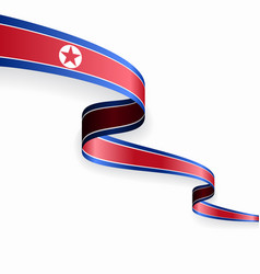 north korean flag wavy abstract background vector image