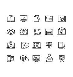 online education line icons e-learning computer vector image