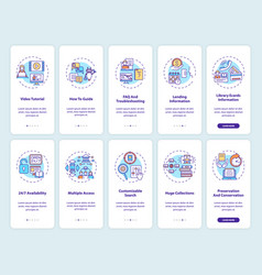 online library onboarding mobile app page screen vector image