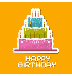 Orange Birthday Background with Cake vector image
