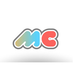 Orange pastel blue alphabet letter mc m c logo vector